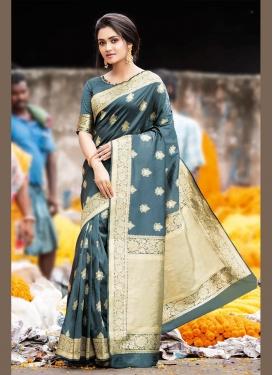 Gilded Weaving Satin Silk Grey Traditional Designer Saree
