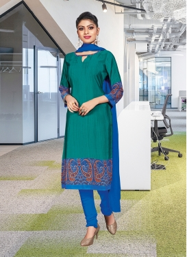 Girlish Teal And Blue Churidar Suit
