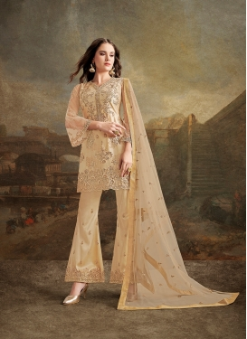 Glamorous Net Beige Embroidered Trendy Designer Suit