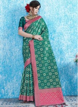 Gleaming Art Silk Sea Green Weaving Traditional Designer Saree