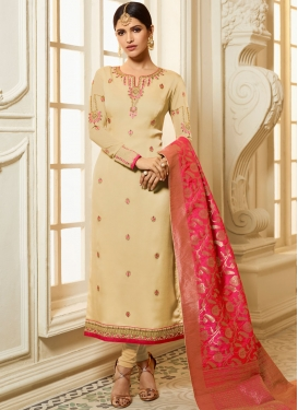 Glitzy Cream Stone Georgette Satin Churidar Designer Suit