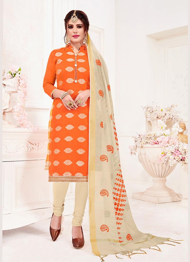 Glorious Print Orange Jacquard Silk Churidar Suit