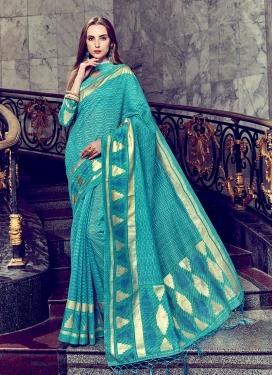 Glorious Turquoise Festival Trendy Saree
