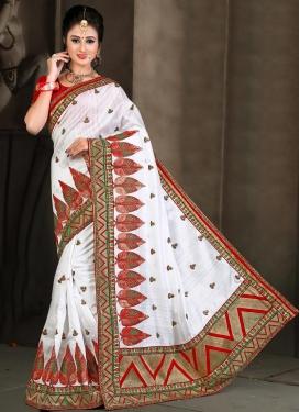 Glossy Booti Work Bhagalpuri Silk Classic Designer Saree