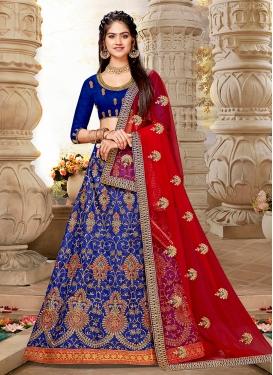 Glossy Lace Art Silk Blue Lehenga Choli