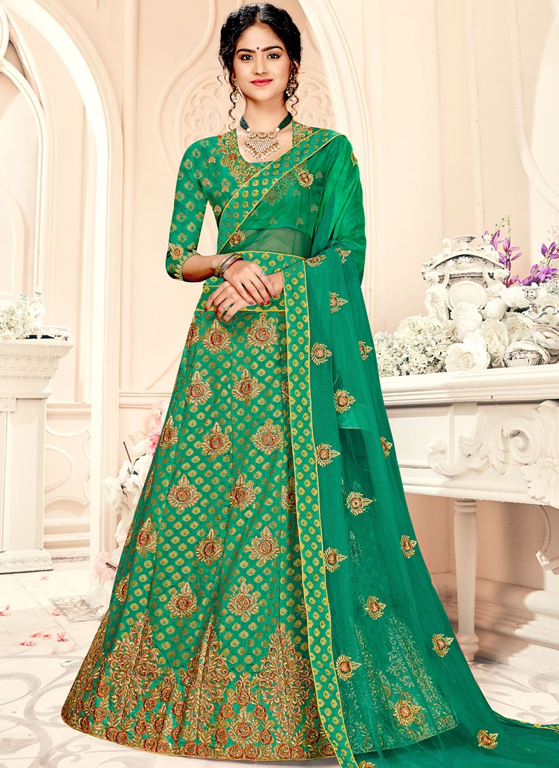 Glowing Embroidered A Line Lehenga Choli