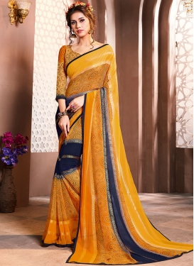 Glowing Faux Georgette Foil print Casual Saree