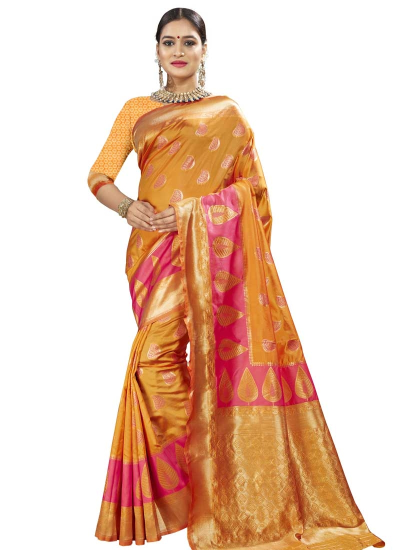 Gold and Hot Pink Banarasi Silk Designer Traditional Saree