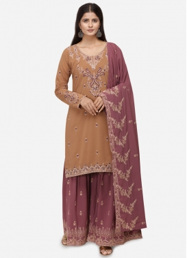 Gold and Hot Pink Faux Georgette Sharara Salwar Suit