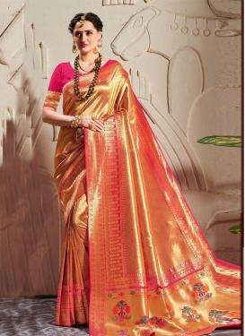 Gold and Magenta Woven Work Designer Contemporary Saree