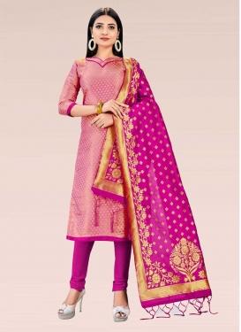 Gold and Magenta Woven Work Trendy Churidar Salwar Kameez