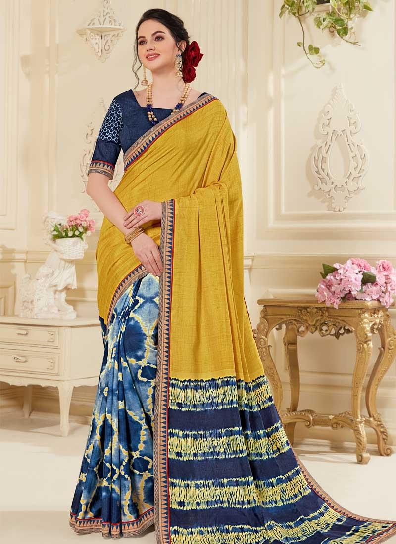 Gold and Navy Blue Art Silk Half N Half Trendy Saree