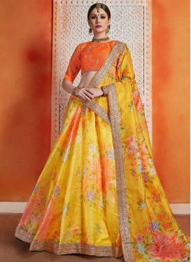 Gold and Orange Art Silk Lehenga Choli