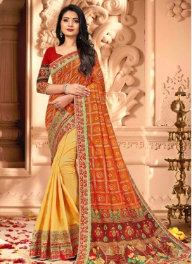 Gold and Orange Bandhej Print Work Half N Half Designer Saree