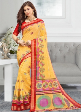 Gold and Red Print Work Traditional Saree