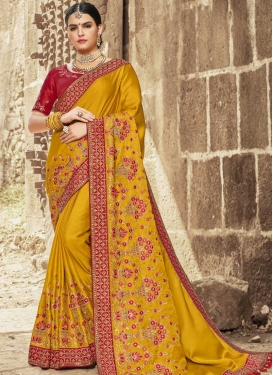 Gold and Red Satin Silk Traditional Designer Saree