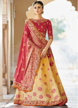 Gold and Rose Pink Banarasi Silk A Line Lehenga Choli For Festival