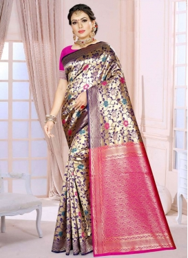 Gold and Rose Pink Designer Contemporary Style Saree