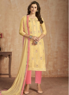 Gold and Salmon Pant Style Salwar Suit For Ceremonial