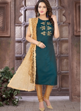 Gold and Teal Embroidered Work Poly Silk Readymade Designer Salwar Suit