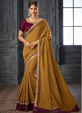 Gold and Wine Designer Contemporary Saree