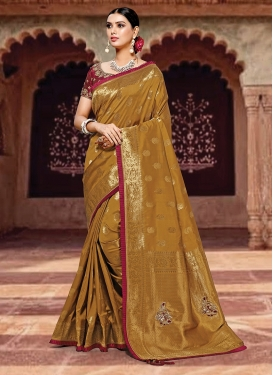 Gold Color Traditional Designer Saree