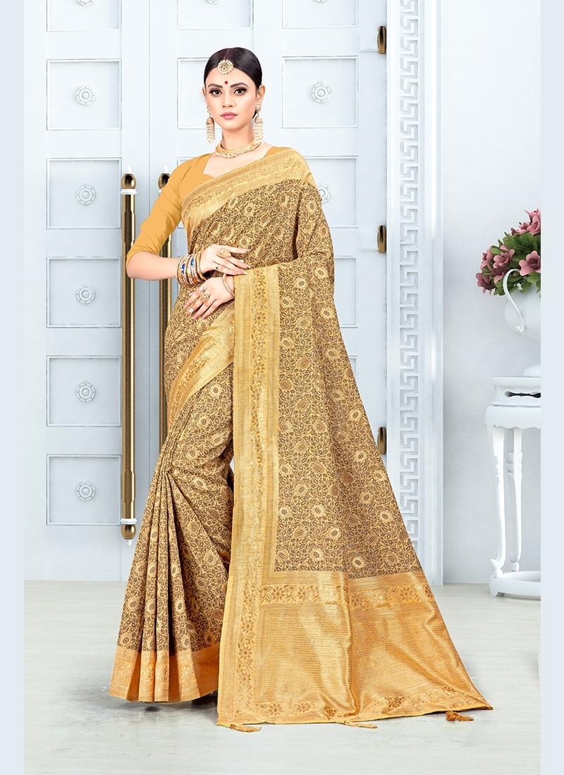 Gold Colour Art Silk Traditional Saree