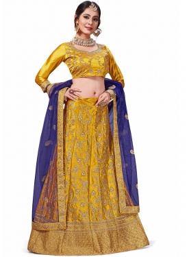 Gold Festival Satin Silk Trendy Lehenga Choli