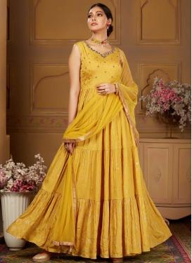Gold Zardosi Work Readymade Designer Suit For Party