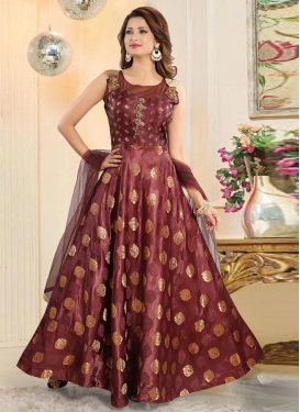 Gold Zardosi Work Readymade Trendy Gown