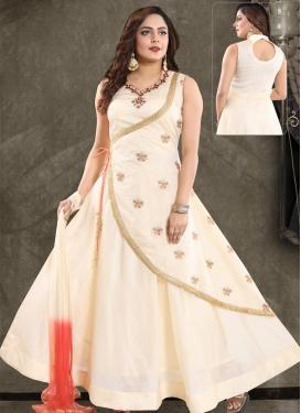 Gold Zardosi Work Readymade Trendy Gown