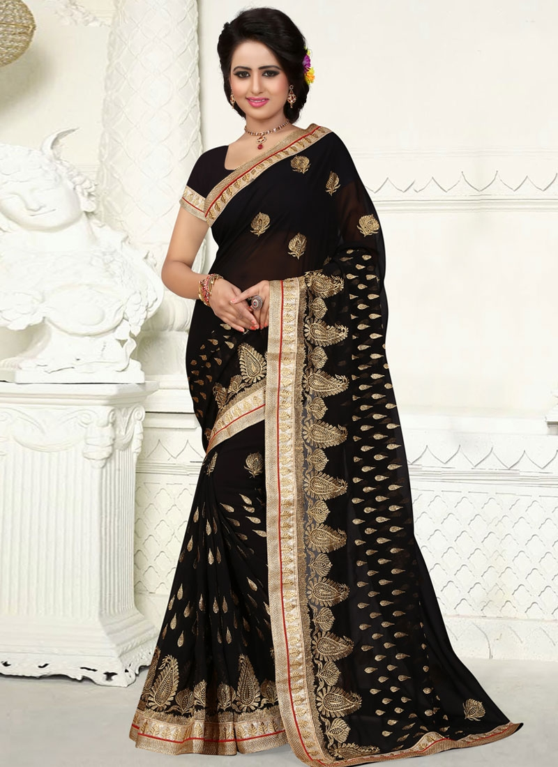 Gorgonize Black Color Embroidery Work Party Wear Saree