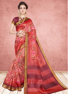 Gorgonize Multi Colour Abstract Print Casual Saree