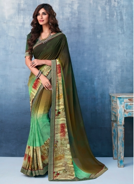 Grandiose Abstract Print Casual Printed Saree