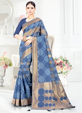 Gratifying Art Silk Blue Traditional Designer Saree