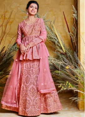 Gratifying Hot Pink Resham Poly Silk Floor Length Anarkali Suit
