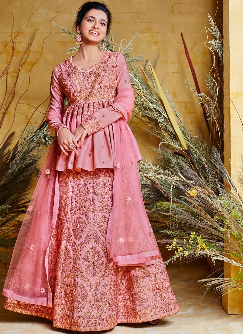 Gratifying Hot Pink Resham Poly Silk Floor Length Anarkali Suit