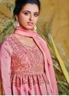 Gratifying Hot Pink Resham Poly Silk Floor Length Anarkali Suit - 1