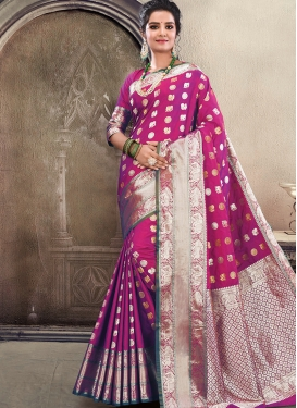 Gratifying Satin Silk Magenta Weaving Traditional Saree
