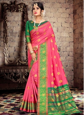 Green and Hot Pink Designer Contemporary Saree For Ceremonial