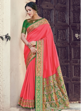 Green and Hot Pink Trendy Classic Saree