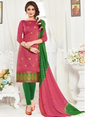 Green and Hot Pink Trendy Straight Salwar Suit