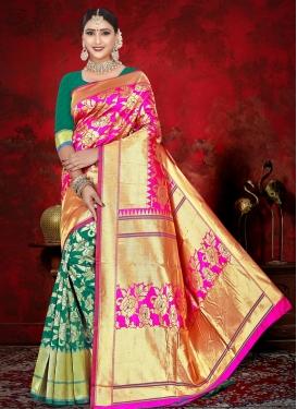 Green and Magenta Jacquard Silk Designer Contemporary Style Saree