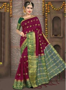 Green and Magenta Thread Work Contemporary Saree