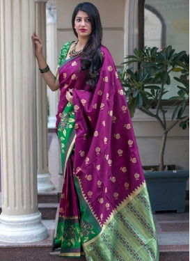 Green and Magenta Thread Work Contemporary Style Saree