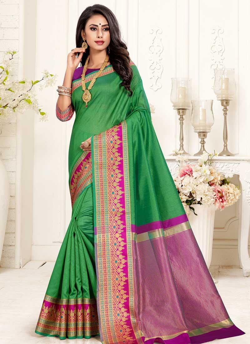 Green and Magenta Thread Work Designer Traditional Saree