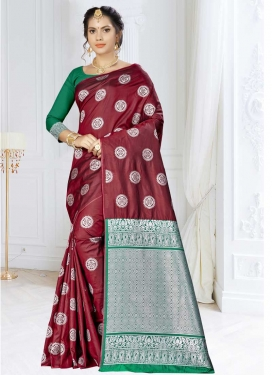 Green and Maroon Banarasi Silk Contemporary Saree