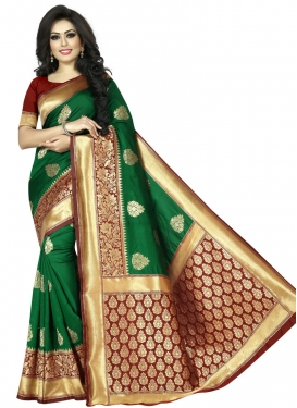 Green and Maroon Classic Saree For Casual