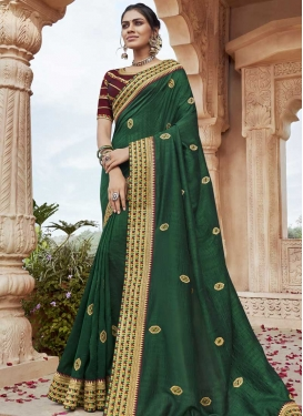 Green and Maroon Designer Contemporary Style Saree