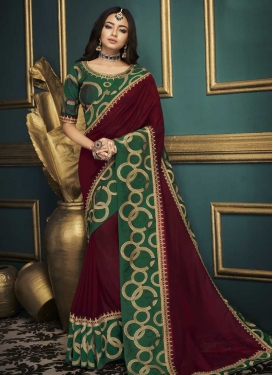Green and Maroon Embroidered Work Trendy Classic Saree